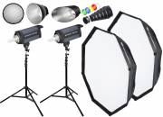 BRESSER Studio Flashes Set: 2x CD-400 + Promotion Package 1