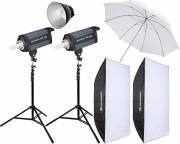 BRESSER Studio Flashes Set: 2x CD-400 + Promotion Package 4