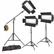 BRESSER LED Photo-Video Set 3x LG-1200 72W/11.800LUX + 3x tripod