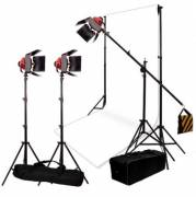 BRESSER Illumination and Background Set No.7 with 3 dimmable SG-800D Halogen Studio Lamps