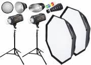 BRESSER Studio Flashes Set: 2x FM-400 + Promotion Package 1