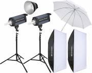 BRESSER Studio Flashes Set: 2x CD-600 + Promotion Package 4