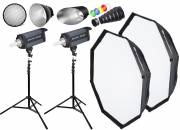 BRESSER Studio Flashlight Set: 2xCD-200 + Promotion Package 1