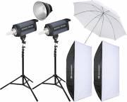 BRESSER Studio Flashes Set: 2x CD-200 + Promotion Package 4