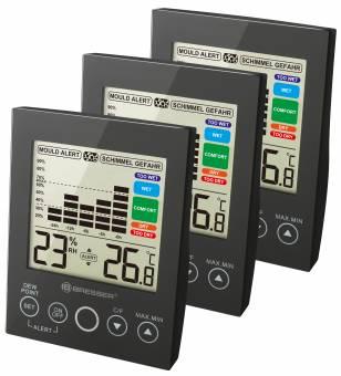 BRESSER MA digital Hygrometer with Mould Alert - Set of 3 black