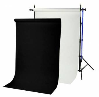 BRESSER BR-TP240 background system 240 cm high + 2 paper rolls (1.35 x 11 m) arctic white and black