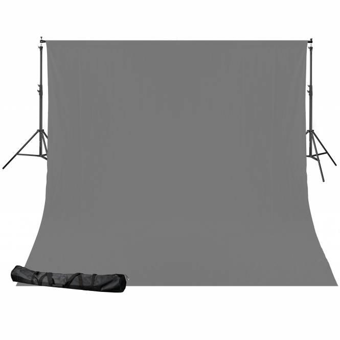 BRESSER BR-D24 background system + background cloth (2.5 x 3 m) grey
